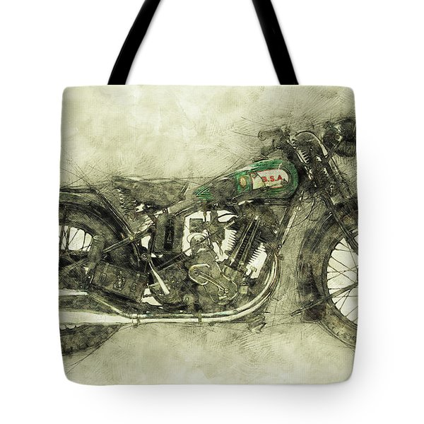 Bsa Sloper 1 - 1927 - Vintage Motorcycle Poster - Automotive Art Tote Bag