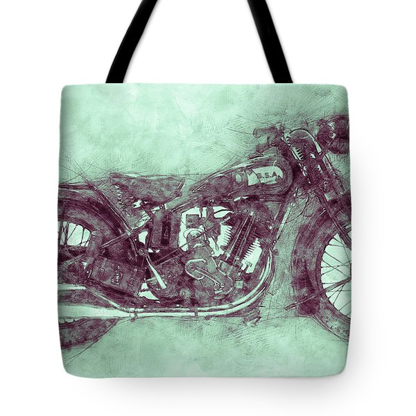 Bsa Sloper 3 - 1927 - Vintage Motorcycle Poster - Automotive Art Tote Bag