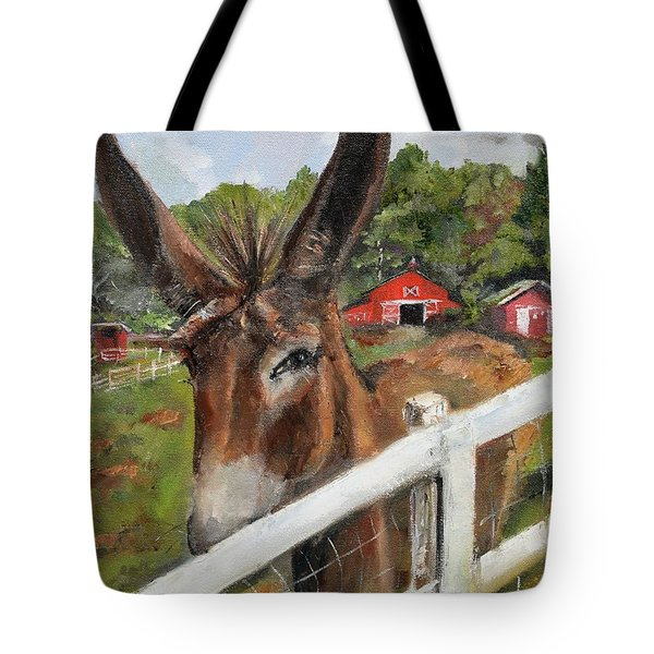 Tote Bag featuring the painting Bubba - Steals The Show -donkey by Jan Dappen