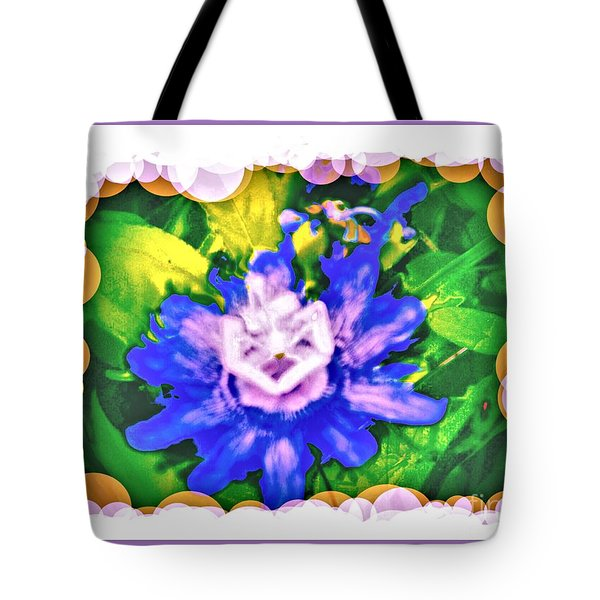 Bubble Border Passion Flower 2 Tote Bag