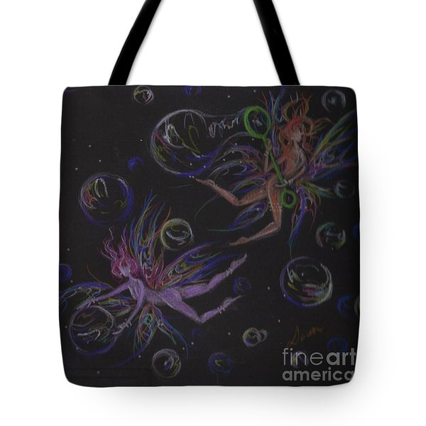 Tote Bag featuring the drawing Bubble Wand by Dawn Fairies