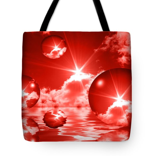 Bubbles In The Sun - Red Tote Bag