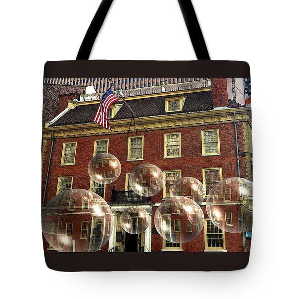 Bubbles Of New York History - Photo Collage Tote Bag