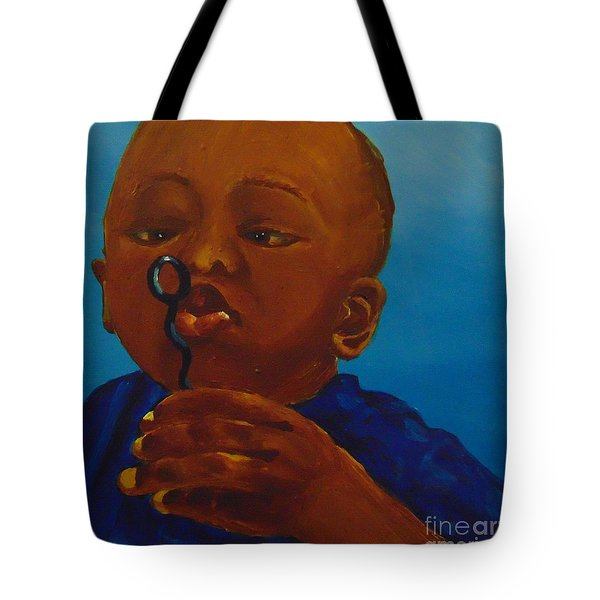 Tote Bag featuring the painting Bubbles by Saundra Johnson