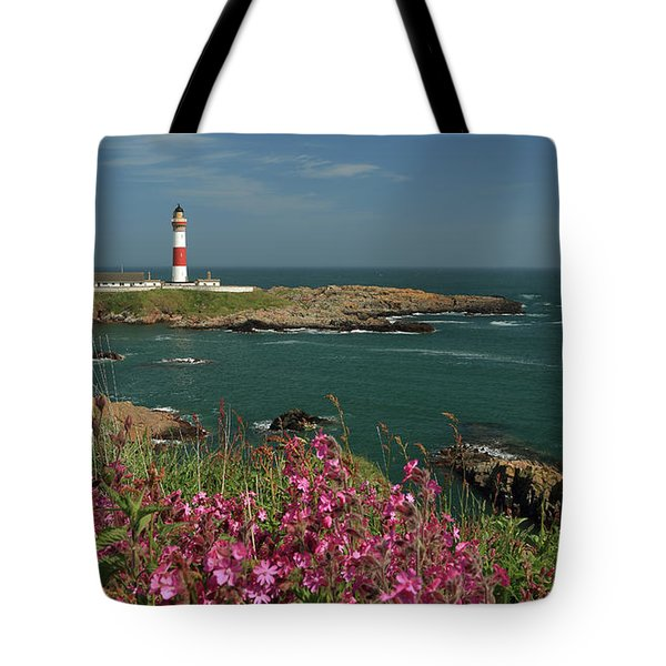 Buchan Ness Lighthouse And Spring Flowers Tote Bag