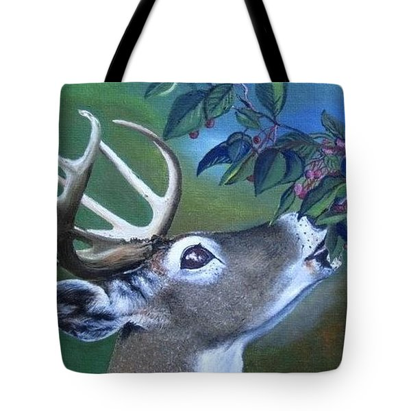 Tote Bag featuring the painting Buck by Mary Ellen Frazee