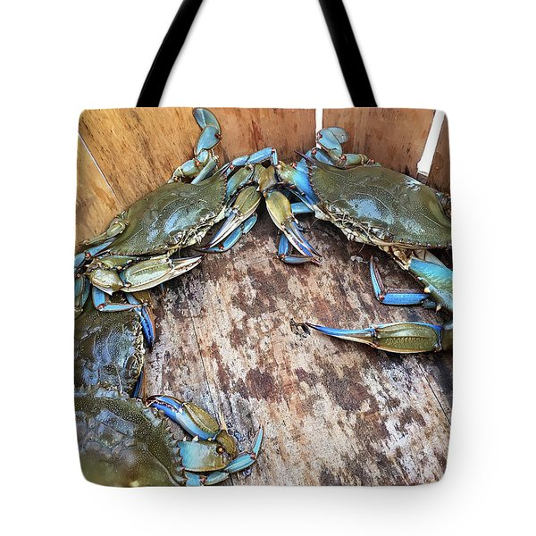Tote Bag featuring the photograph Bucket Of Blue Crabs by Jennifer Casey