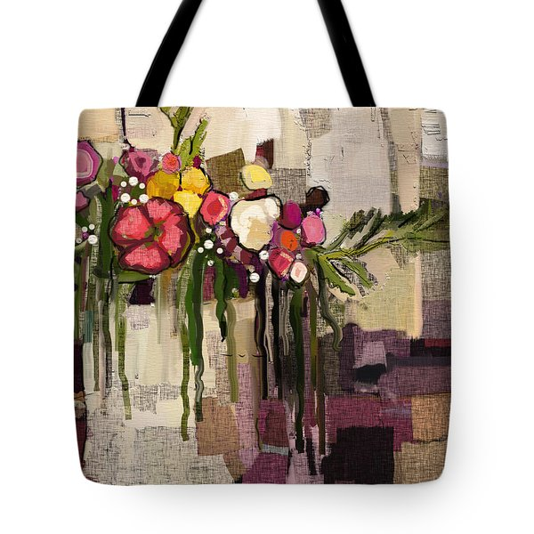Tote Bag featuring the painting Bucket Of Flowers by Carrie Joy Byrnes