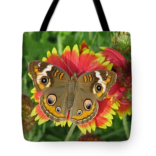 Buckeye On Blanketflower Tote Bag