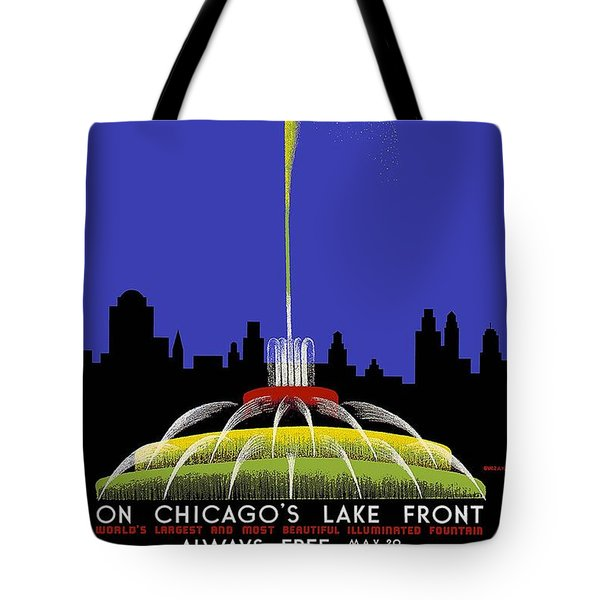 Buckingham Fountain Vintage Travel Poster Tote Bag