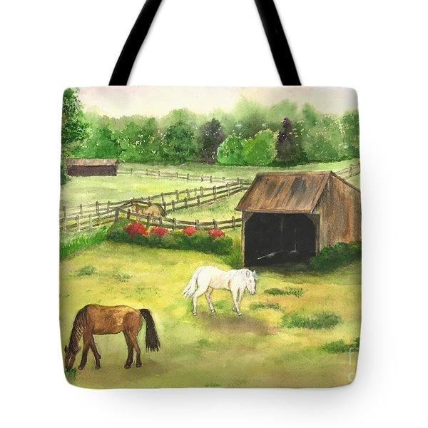 Bucks County Horse Farm Tote Bag by Lucia Grilletto