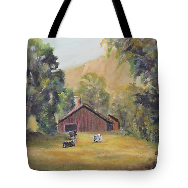 Tote Bag featuring the painting Bucks County Pa Barn by Katalin Luczay