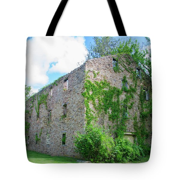 Tote Bag featuring the photograph Bucks County Pa - Bridgetown Millhouse Ruins by Bill Cannon