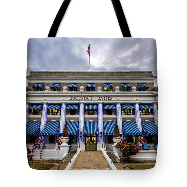 Tote Bag featuring the photograph Buckstaff Bathhouse - Christmas by Stephen Stookey