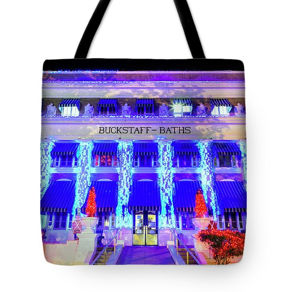 Tote Bag featuring the photograph Buckstaff Baths - Christmastime by Stephen Stookey