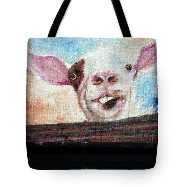 Bucktooth'd Goat Part Of Barnyard Series Tote Bag