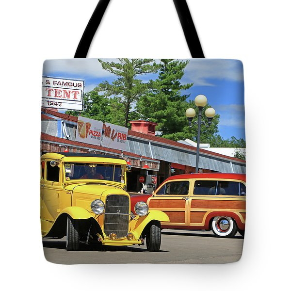 Tote Bag featuring the photograph Bud Tent Hot Rods by Christopher McKenzie