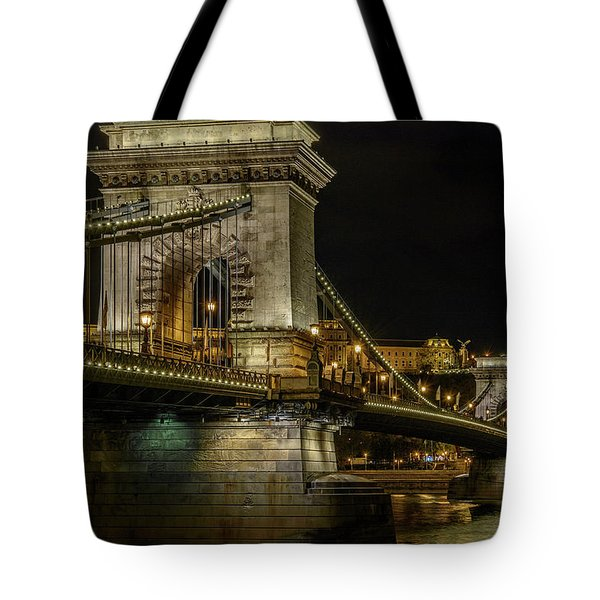 Tote Bag featuring the photograph Budapest Chain Bridge by Steven Sparks