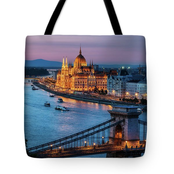Budapest City At Dusk Tote Bag