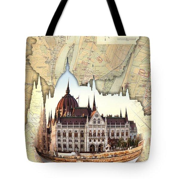 Budapest Globe Map Tote Bag