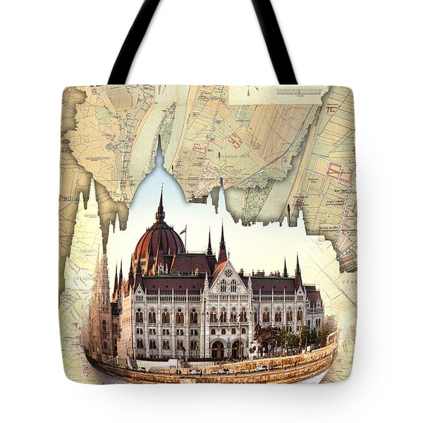 Budapest Globe Map Tote Bag