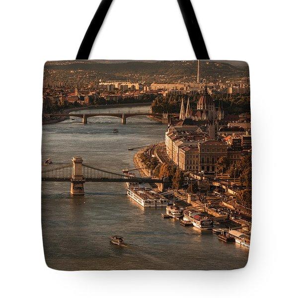 Budapest In The Morning Sun Tote Bag by Jaroslaw Blaminsky