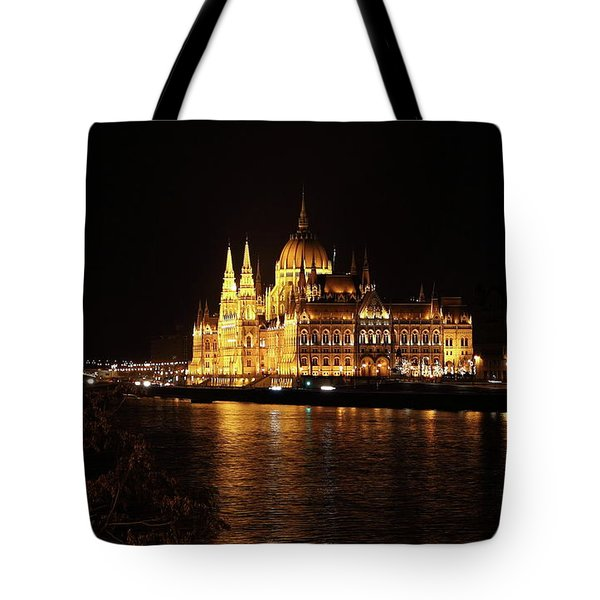 Tote Bag featuring the digital art Budapest - Parliament by Pat Speirs