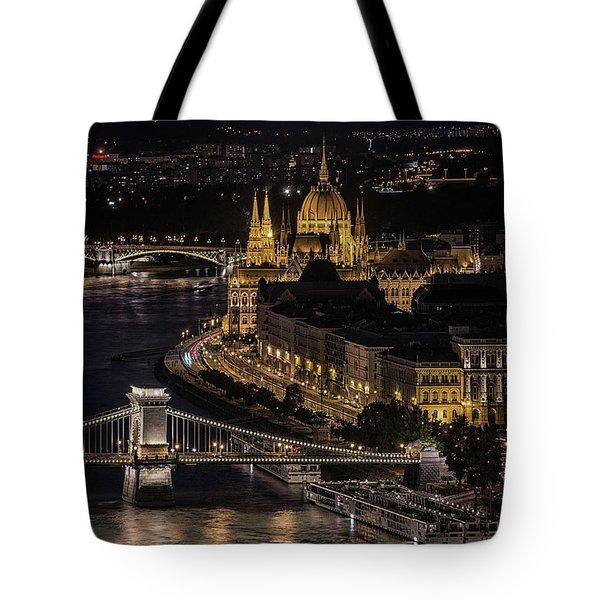 Budapest View At Night Tote Bag by Jaroslaw Blaminsky