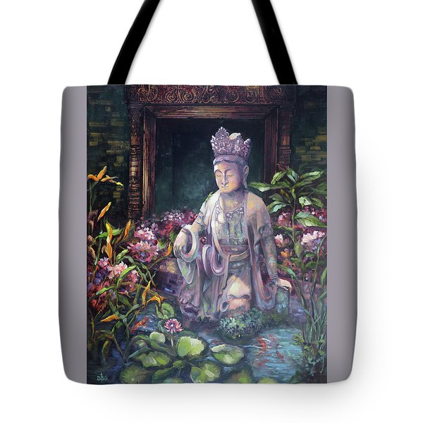 Budda Statue And Pond Tote Bag