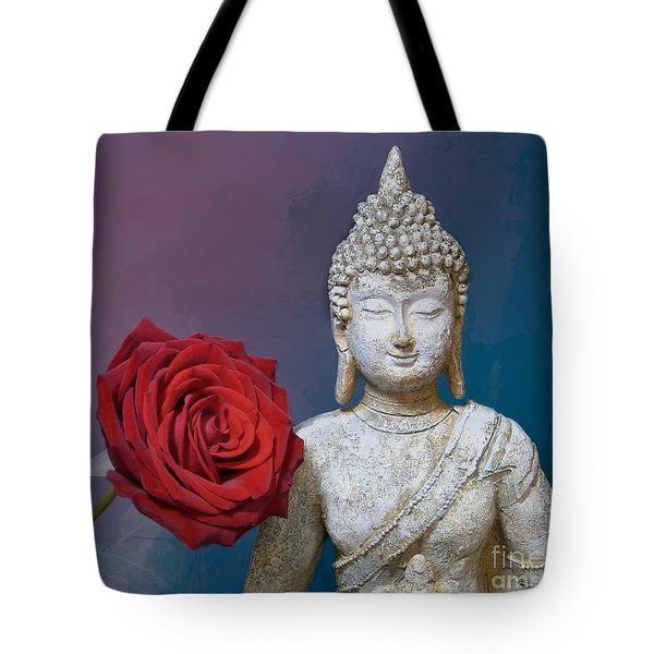 Buddha And Rose Tote Bag