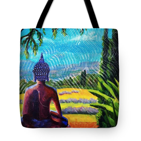 Buddha Atop The Lavender Farm Tote Bag