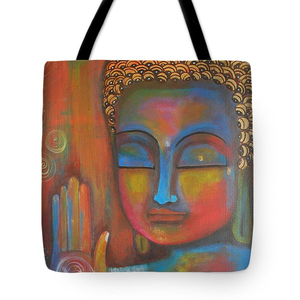 Tote Bag featuring the painting Buddha Blessings by Prerna Poojara