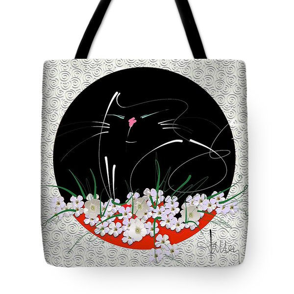 Tote Bag featuring the mixed media Buddha Cat by Larry Talley
