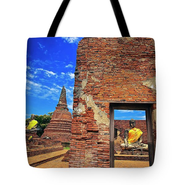 Tote Bag featuring the photograph Buddha Doorway At Wat Worachetha Ram In Ayutthaya, Thailand by Sam Antonio Photography