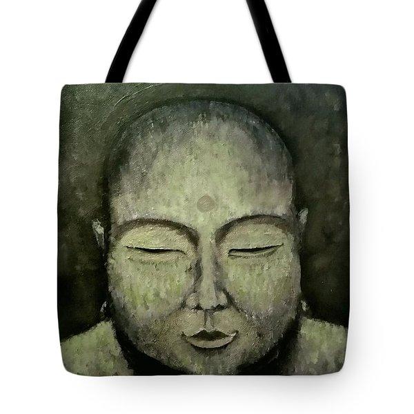 Buddha In Green Tote Bag