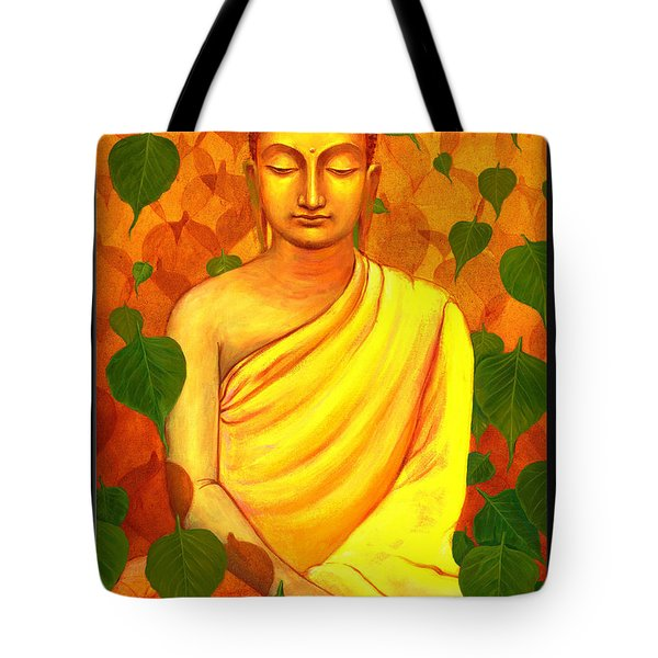 Buddha In Green Leaves Tote Bag