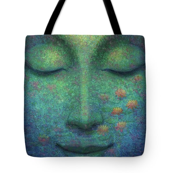 Tote Bag featuring the painting Buddha Smile by Sue Halstenberg