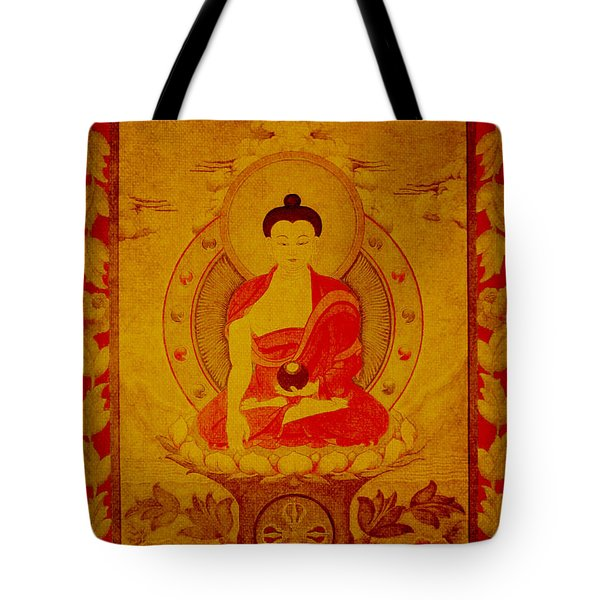 Buddha Tapestry Gold Tote Bag