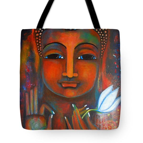 Tote Bag featuring the painting Buddha With A White Lotus In Earthy Tones by Prerna Poojara