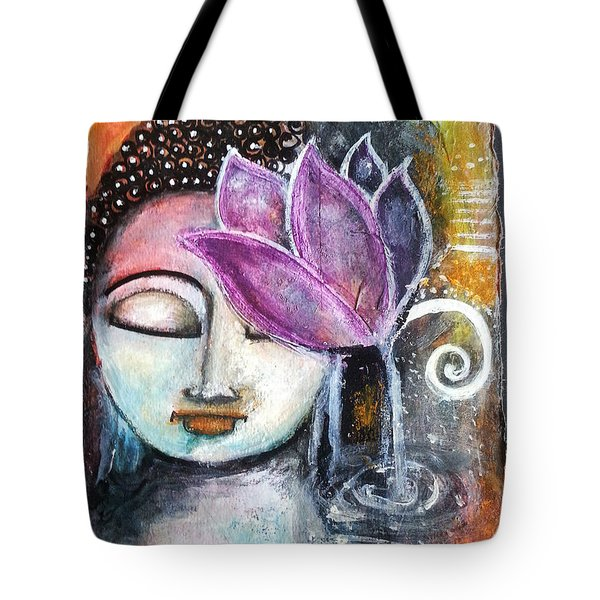 Buddha With Torn Edge Paper Look Tote Bag