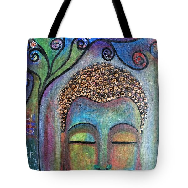 Tote Bag featuring the painting Buddha With Tree Of Life by Prerna Poojara