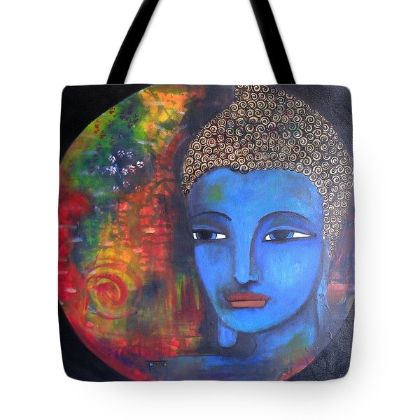 Tote Bag featuring the painting Buddha Within A Circular Background by Prerna Poojara