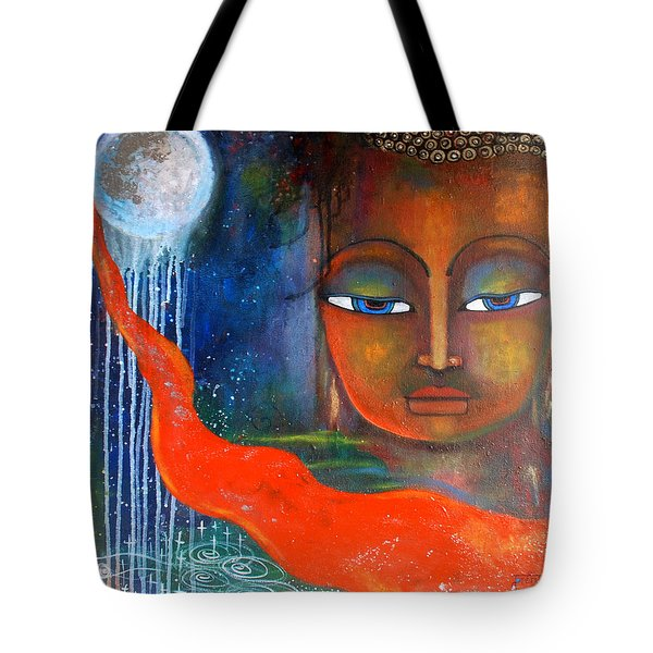 Tote Bag featuring the painting Buddhas Robe Reaching For The Moon by Prerna Poojara