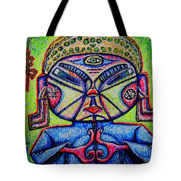 Tote Bag featuring the painting Buddhist/sketch/ by Viktor Lazarev