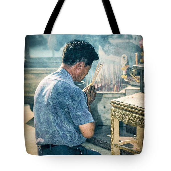 Tote Bag featuring the photograph Buddhist Way Of Praying by Heiko Koehrer-Wagner