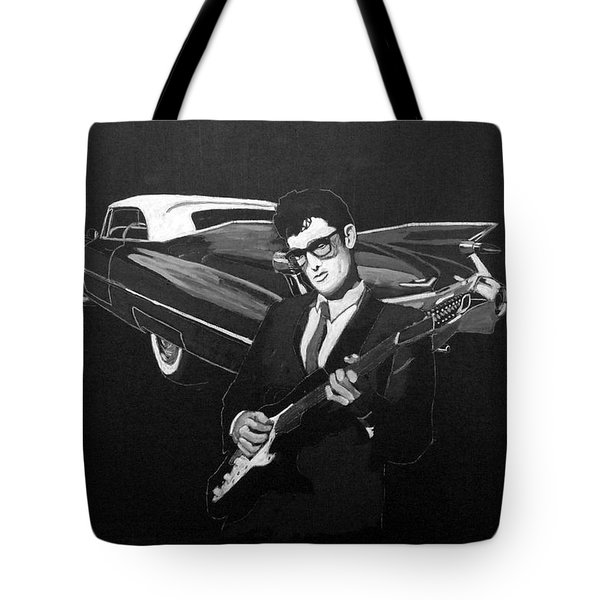 Tote Bag featuring the painting Buddy Holly And 1959 Cadillac by Richard Le Page