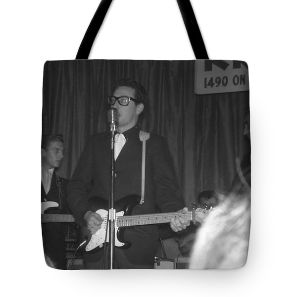 Buddy Holly Onstage At The Surf Ball Room Playing His Last Concert Tote Bag by The Titanic Project