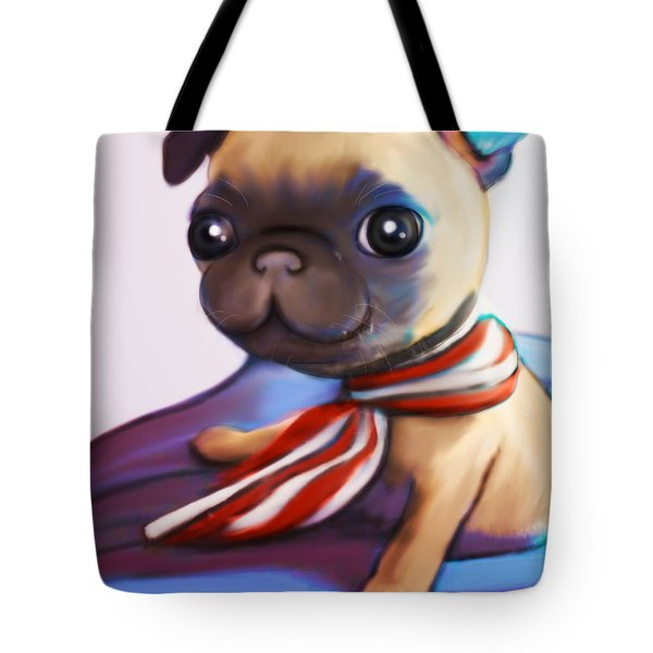Buddy The Pug Tote Bag by Catia Cho