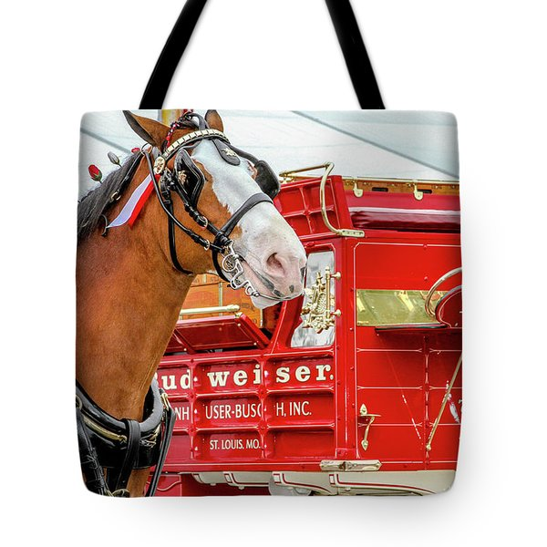 Tote Bag featuring the photograph Budweiser Clydesdale In Full Dress by Bill Gallagher