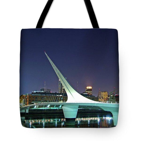 Buenos Aires - Argentina - Puente De La Mujer At Night Tote Bag